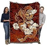 Golden Dragon - Brad Simpson - Cotton Woven Blanket Throw - Made in The USA (72x54)