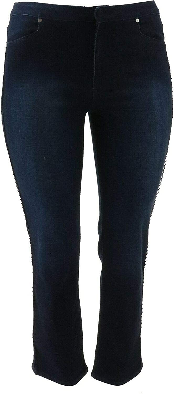 Dennis Basso Stretch Denim Straight Ankle Jeans Dark Indigo 26W # A346667