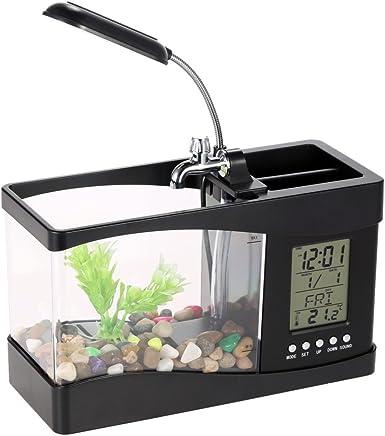 Anself LED Pecera acuarios de peces tanque de pescados de LCD pantalla de USB con reloj