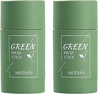 Green Tea Purifying Clay Stick-Mask, 2Pcs Clean Skin SolidMask, Green Tea Anti Acne Cleaning SolidMask Face...