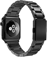 Simpeak Slim Wirst Band Compatible with Apple Watch 44mm/42mm, Stailess Steel Metal Band Strap Replacement for Apple Watch Series 5 4 3 2, Black