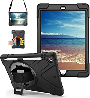 New iPad 9.7 Case 2018/2017 with Pencil Holder 360 Degree Built-in Swivel Stand Hand Strap and Shoulder Strap,Heavy Duty Rugged Shockproof Protective Carrying Case for iPad 5th/6th Generation Black