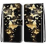 i-Case Carcasa Huawei P9 Lite Flip Cover, Patrón PU Piel Funda,Cubierta de Ranuras para Tarjetas,Caja de Soporte con Cierre Magnético Caso teléfono para Huawei P9 Lite,Mariposa de Oro