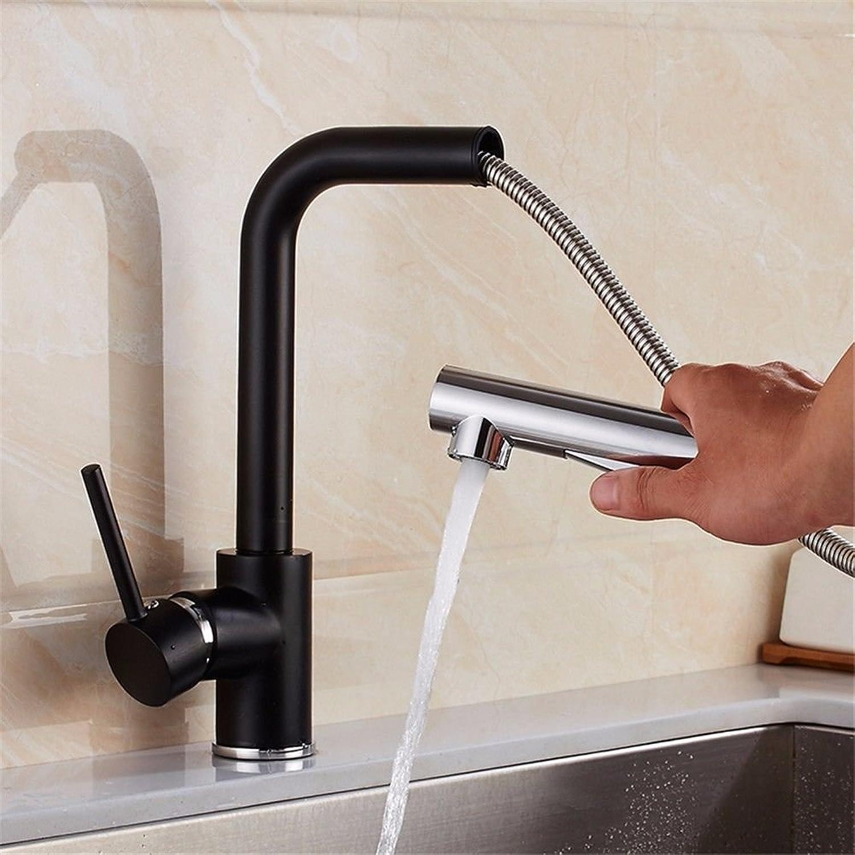 Gyps Faucet Waschtisch-Einhebelmischer Waschtischarmatur BadarmaturSchwarz Quarz Waschbecken aus Stein Einloch Küchenarmatur Edelstahl Wasserhahn Warmes und Kaltes Ziehen - Messing Wasserhahn