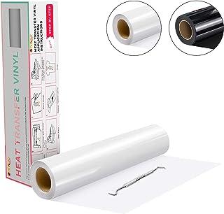 """Heat Transfer Vinyl White HTV Rolls - 12"""" x 20ft White Iron on Vinyl for Cricut & Silhouette Cameo, White HTV Vinyl for Shirts - Easy to Cut & Weed for DIY Heat Vinyl Design"""