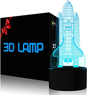 YKL WORLD Rocket Night Light 3D Illusion Lamp LED Space Shuttle Nightlight 7 Color Changing Touch Sensor Desk Table Lamp with USB Cable Decoration for Nursery Bedroom Kids Boys Birthday Gifts