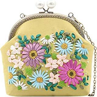 Lovoski for Women Clutch Vintage Rose Purse Evening Handbag Making Material Crafting DIY Sewing, Embroidery Ribbon,Fabric
