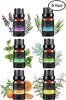 Ätherische Öle Set, AIDUE 100% Pur Aromatherapie Duftöl für Diffuser und Aromatherapie, 6 x 10ml - Lavendel, Eukalyptus, Teebaum, Pfefferminz, Orange, Zitronengras