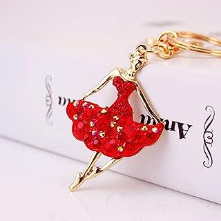 Jzcky Shzrp Ballet Girl Crystal Rhinestone Keychain Key Chain Sparkling Key Ring Charm Purse Pendant Handbag Bag Decoration Holiday Gift(Red)
