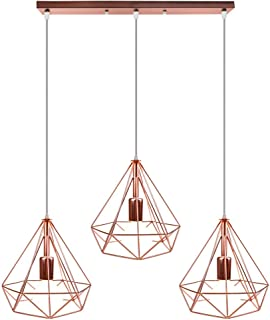 Suspension Luminaire Industrielle 3 Lampes Vintage Lustre Abat-jour en Métal Or Rose plafonnier Intérieur pour Salon Cuisi...