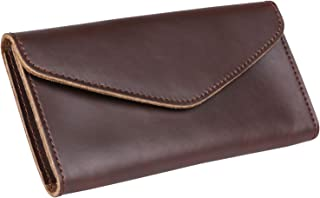 Plinrise Vintage Leather Long Metal Button Wallet, 5.5