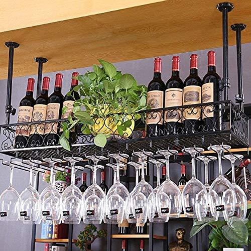 BFDMY Estante para Vino Vino Tinto KTV Portavasos Colgante, Portavasos para Botellas de Vino Bar Portavasos de Vino invertido Portavasos para Colgar Bar Vitrina para vinos,Schwarz