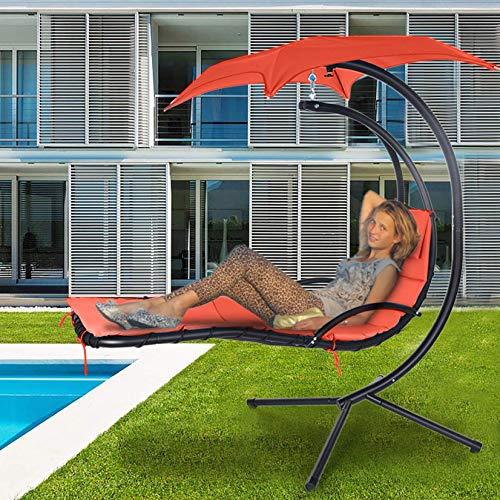 Hammock Yard Chair Outdoor Hanging Chair Hammock Stand Outdoor Chair Outdoor Swings for Adults Patio Lounge Chair Outdoor Lounger Free Standing (Orange, 73 x 46 x 78 inches)