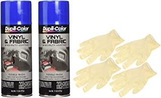 Dupli-Color Blue High Performance Vinyl and Fabric Spray (11 oz) Bundle with Latex Gloves (6 Items)