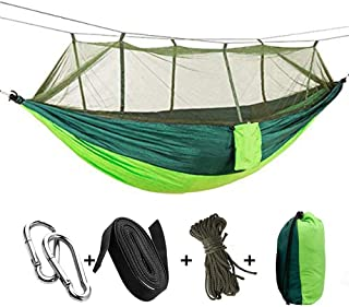 Tavolozza Camping Hammock with Mosquito/Bug Net, 10ft Hammock Tree Straps and Carabiners, Easy Assembly, Portable Parachute Nylon Hammock for Camping, Backpacking, Survival, Travel, Indoor & More