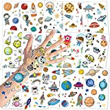 Konsait Tatuaggi temporanei per Bambini 16 Fogli Sistema Solare Spazio Esterno Tema Tatuaggio Tattoos Adesivi per Bambini Festa di Compleanno Sacchetti Regalo Giocattolo