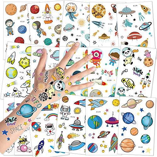 Konsait Tattoo Kinder, Weltraum Tattoos Set, Weltraum Temporäre wasserdichte Kindertattoos Aufkleber für Kinder Spielen Mädchen Jungen Kindergeburtstag Mitgebsel, 16 Blatt