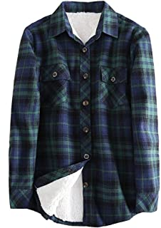 comprar comparacion Camisas-a-Suadros Mujeres Manga-Larga Invierno Blusas-Franela Caliente Casual-Tops