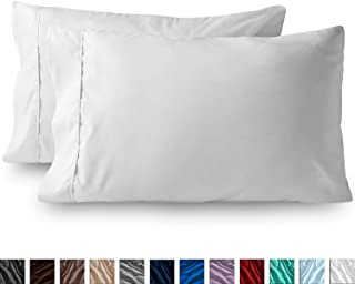 Bluemoon Homes Luxurious Hotel Style 100% Pure Egyptian Cotton 1000 -Thread-Count Solid, 2-Piece Pillowcase Set - Single Ply Soft Sateen Weave Premium Yarns (2 PC King Pillowcases, White)