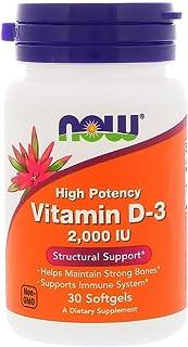 كبسولة جيلاتينية، فيتامين د 3، فعالية عالية، 2000 وحدة دولية من ناو فودز، 30 كبسولة هلامية