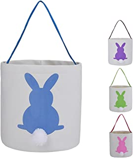 Easter Bunny Bags Rabbit Ears Design Cotton Dual Layer Easter Eggs/Gift Basket Easter Party Tote Bags for Kids - by X.Sem (Blue)