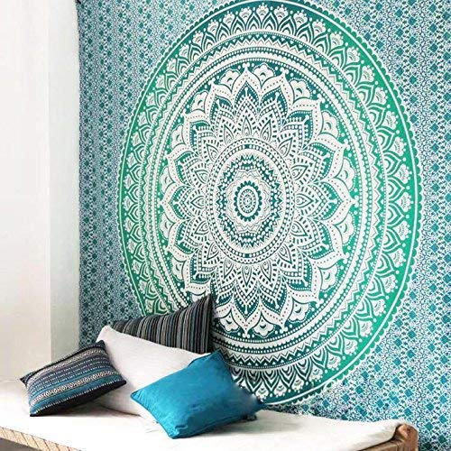 RAILONCH Multicolored Indischer Wandteppich Wandbehang Mandala Tuch Wandtuch Gobelin Tapestry Goa Indien Hippie-/ Boho Stil als Dekotuch/Tagesdecke (Grün, 210 * 150)