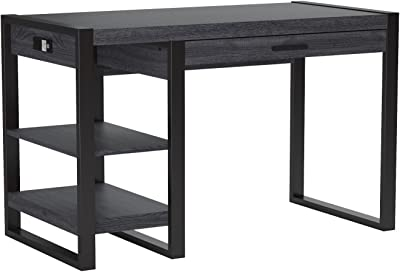 Walker Edison Modern Industrial Computer Gaming Desk Storage Shelves and Drawer with Electrical Outlet Home Office, 48 Inch, Charcoal