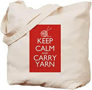 CafePress Keep Calm And Carry Yarn Natural Canvas Tote Bag, Reusable Shopping Bag