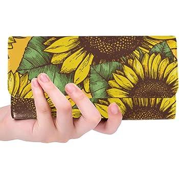 Colorful Lines Orange Background Women Wallet RFID Zip Long Wallets Phone Travel Card Holder Purse Clutch Multi Card Case