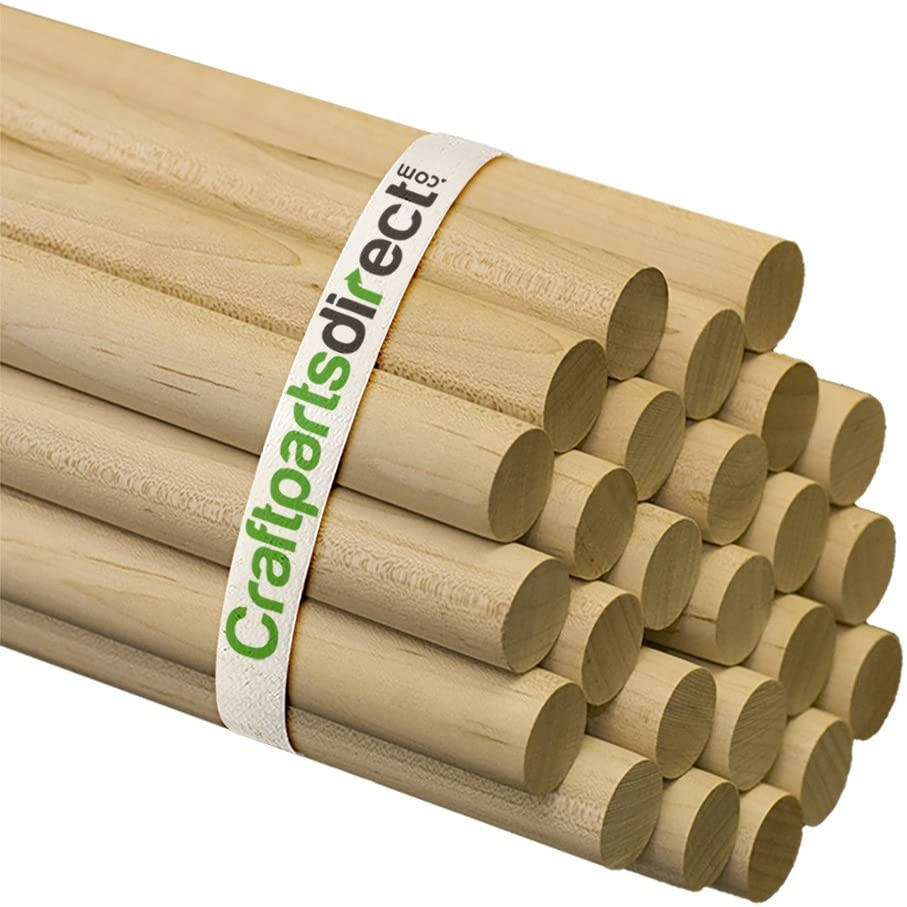 Amazon Com 3 4 Inch X 48 Inch Wooden Dowel Rods Unfinished Hardwood Dowels For Crafts Woodworking By Craftparts Direct Bag Of 25