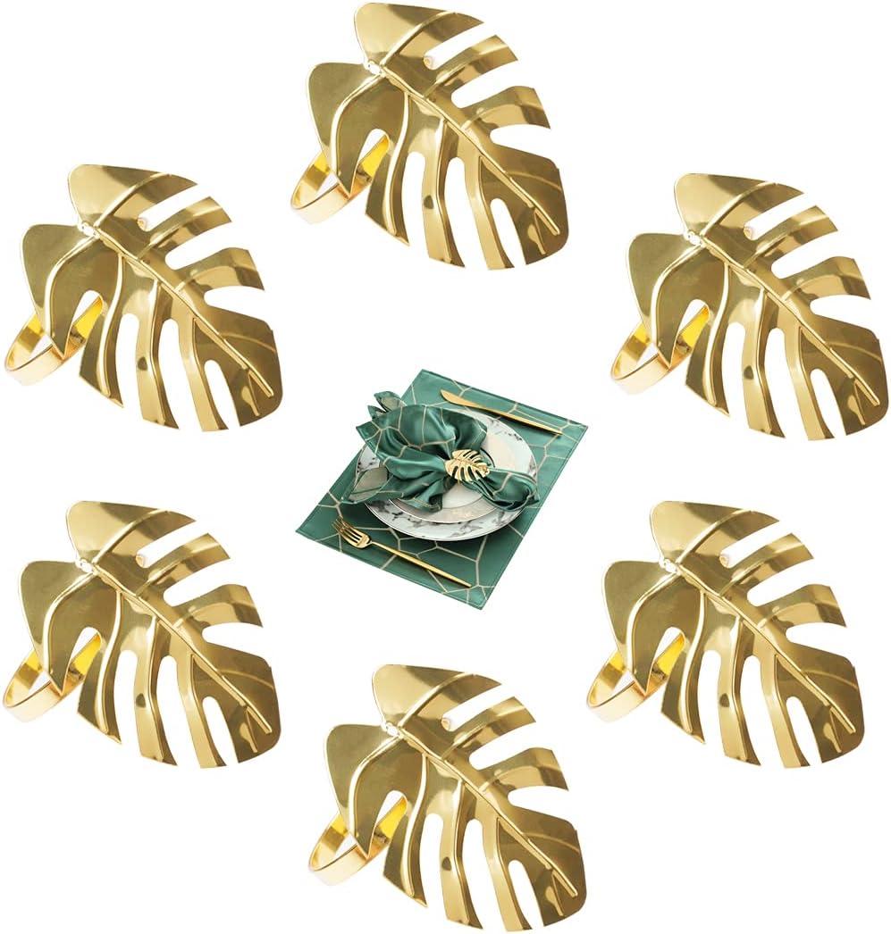 Servilleteros , 6 Piezas Servilletero Oro , Servilletero en forma de hoja adecuado para Fiesta, boda