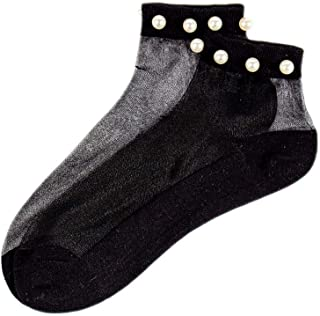 kexinda, kexinda 1 par Perla de Las Mujeres del Tobillo del calcetín de Malla Transpirable diseño Casual Chicas Sexy Summer Calcetines Cortos Negro Inferior y Negro Malla