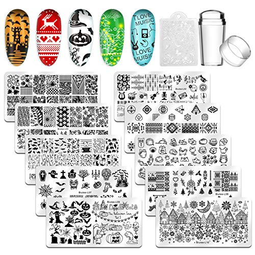 Biutee Stempelschablonen,10 pcs Weihnachten und Christmas Nail Art Plates Stamping Nagel Bildstempel Schablone Metallplatten Nagel Tattoo