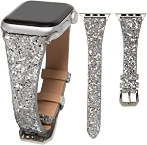 HAYUL Glitter Band Compatible with Apple Watch 38mm 40mm 42mm 44mm, Luxury Shiny Bling Leather Strap Wristband for iWatch Series 6/5/4/3/2/1 SE Women Girls (Silver, 38mm/40mm)