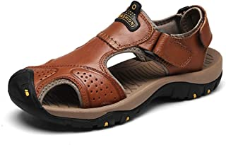 HongJie Hou Climbing Hiking Sandals for Men Summer Water Beach Shoes Genuine Leather Closed Toe Hook&Loop Strap (Color : Reddish Brown, Size : 8.5 UK)