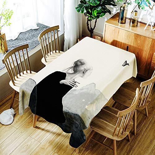 QWEASDZX Mantel Simple Personalidad Poliéster Impresión Digital Resistente al Aceite y Resistente al Agua Mantel Rectangular Adecuado para Interiores y Exteriores Mantel de usos múltiples 150x300cm
