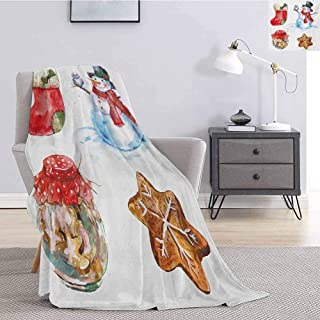 Luoiaax Christmas Comfortable Large Blanket Watercolor Xmas Icons Snowman with Owl Sock Gingerbread Cookie Microfiber Blanket Bed Sofa or Travel W60 x L50 Inch Red Dark Orange Pale Blue