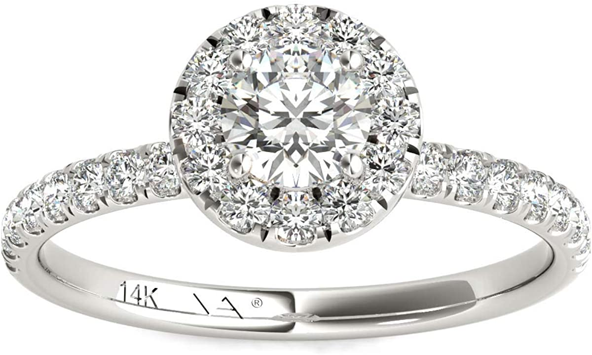 Vaarya 14K White Gold Diamond Halo Engagement Ring (3/4 Ctw, AGS Certified GH+/SI2-I1+)