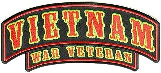 Vietnam War Veteran Rocker Large - 10x4 inch. Embroidered Iron on Patch