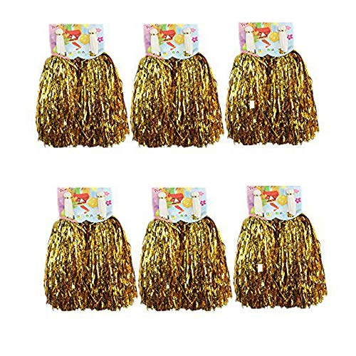CRIVERS 1 Dutzend Cheerleading Pompons, 12pc Cheerleader Pompoms für Ball Tanzen Schick Kleid Nacht Party Sports (Gold)