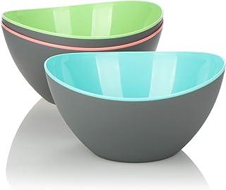 COM-FOUR® juego de 3 piezas de ensaladeras tazones decorativos grandes para ensaladas frutas bocadillos y mucho más t...