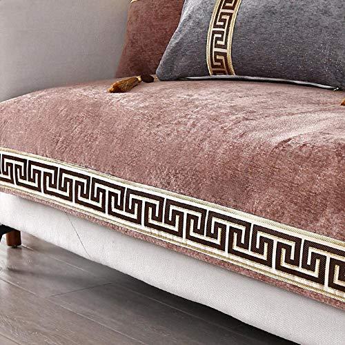 Miwaimao Chinese Fabric Sofa Cushion Thickening Shroud Of Classical Chinese Style Three-Digit Combination Cushion Slip Towel,Coffee Color,90x240cm