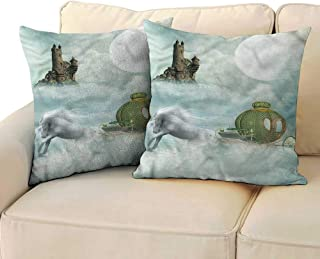 RuppertTextile Fantasy Customized Pillowcase Unicorn in Clouds Carriage Machine Washable W19 x L19