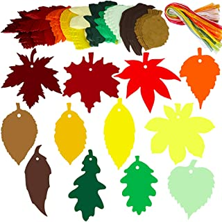 Supla 120 PCS 12 Styles Maple Leaf Fall Die Cuts Leaf Cut Outs with Holes Hang Tags with Strings Attached Favor Tags Gift Tags Treats Tags with Ribbons for Fall Wedding Halloween Party Wishing Tree
