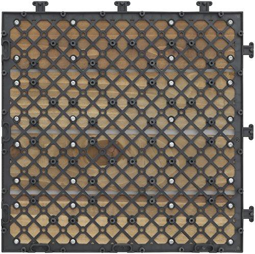 タカショー(Takasho)敷くだけデッキ天然木ブラウン9枚セット約W30×D30×H2.6cm