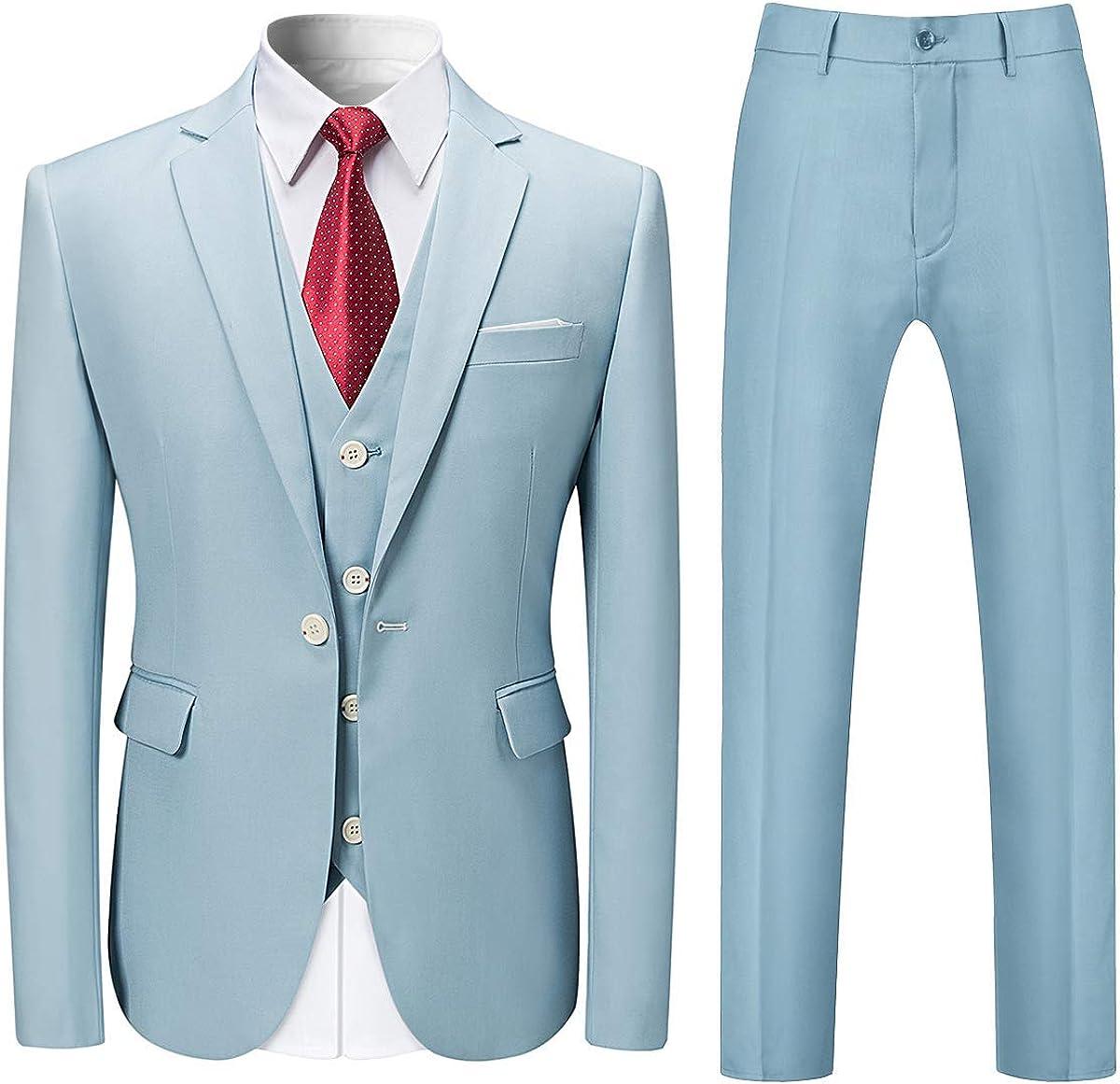 HOTK Men's Suits Custom Made 3 Piece Solid Notch Lapel Business Suits Groom Tuxedos Light Blue