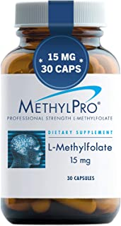 MethylPro 15mg L-Methylfolate 30 Capsules - Professional Strength Active Folate, 5-MTHF for Mood, Homocysteine Methylation + Immune Support, Non-GMO + Gluten-Free with No Fillers