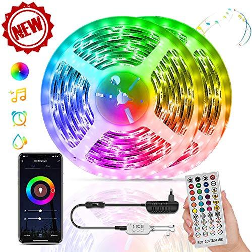 COOLAPA 10M RGB Tira de LED 12V con Chip 5050,IP65 Impermeable Multicolor 300 LEDs Strip Tiras Con Mando a Distancia y Adaptador Corriente,Luces Led Decoracion para El Hogar,Cocina,Navidad