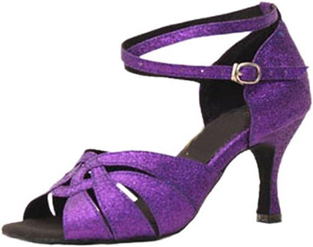 GUOSHIJITUAN Wohommes Paillettes Chaussures De Danse Latine,Tête Ronde Fond Mou Talons Hauts Salsa Chaussures De Danse Sociale Indoor Sandale