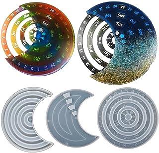 Moon Perpetual Calendar Resin Molds, 3Pcs Moon Rotatable Hanging Calendar Silicone Mould, Moon Calendar Epoxy Molds for DI...